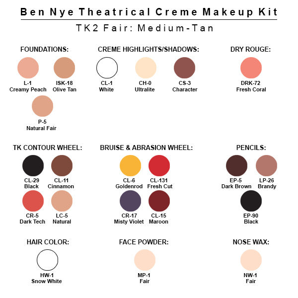 Ben Nye Theatrical Creme Makeup Kit (USA Only) - TK-2 Fair Male: Medium-Tan | Camera Ready Cosmetics - 3