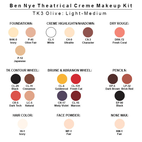 Ben Nye Theatrical Creme Makeup Kit (USA Only) - TK-3 Olive: Light-Medium | Camera Ready Cosmetics - 4
