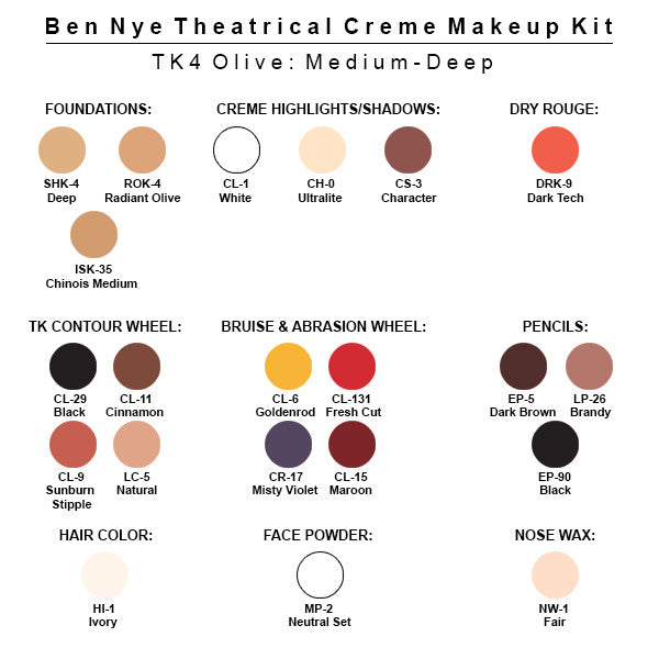 Ben Nye Theatrical Creme Makeup Kit (USA Only) - TK-4 Olive: Medium-Deep | Camera Ready Cosmetics - 5