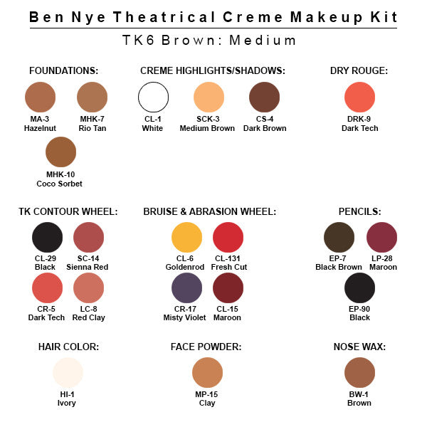Ben Nye Theatrical Creme Makeup Kit (USA Only) - TK-6 Brown:  Medium | Camera Ready Cosmetics - 7