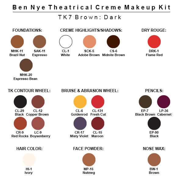 Ben Nye Theatrical Creme Makeup Kit (USA Only) - TK-7 Brown: Medium-Dark | Camera Ready Cosmetics - 8