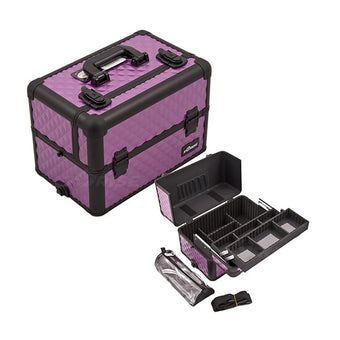JUST CASE PRO MAKEUP CASE E3307 (USA Only) - Purple/Bk Diamond (E3307DMPLB) | Camera Ready Cosmetics - 6