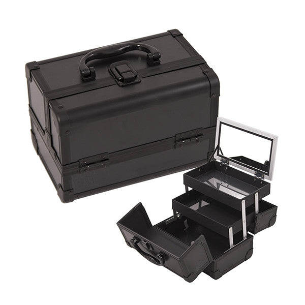 JUST CASE - MAKEUP CASE WITH MIRROR M1001 (USA ONLY) - All Black (M1001PPAB) | Camera Ready Cosmetics - 2