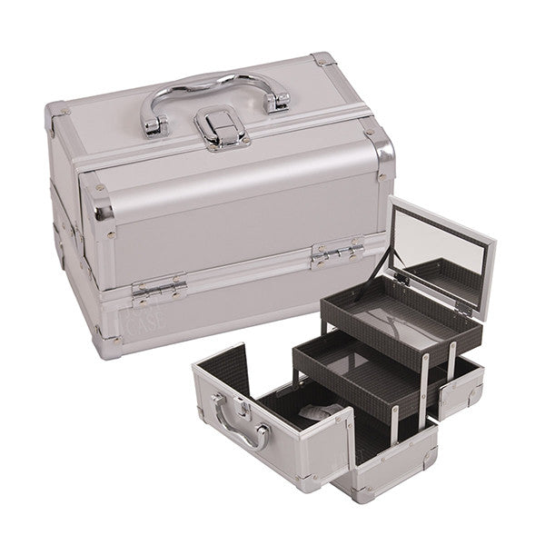 JUST CASE - MAKEUP CASE WITH MIRROR M1001 (USA ONLY) - Silver (M1001PPSL) | Camera Ready Cosmetics - 8