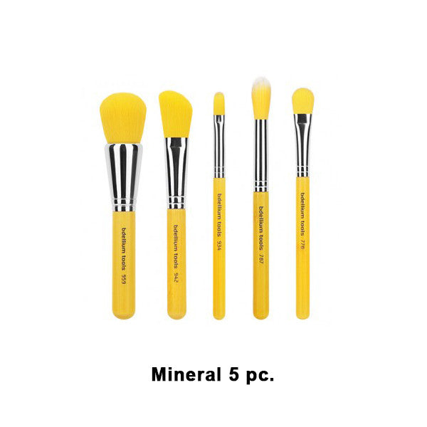 Bdellium Tools Yellow Bambu Brush Sets - Yellow Bambu Mineral 5pc. Set | Camera Ready Cosmetics - 3