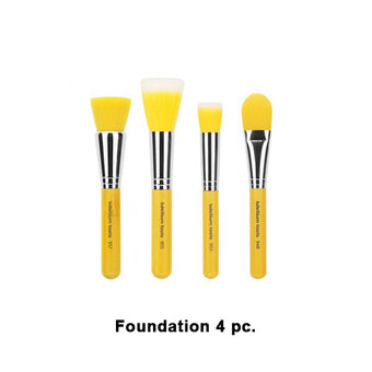 Bdellium Tools Yellow Bambu Brush Sets - Yellow Bambu Foundation 4pc. Set | Camera Ready Cosmetics - 4