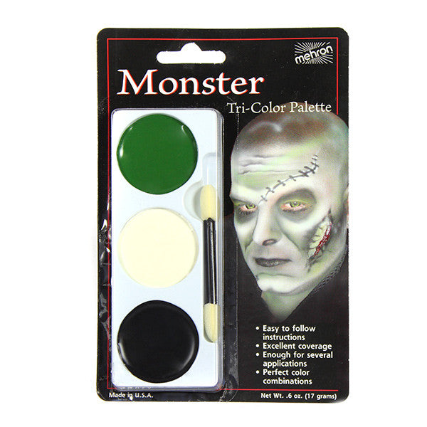 Mehron Tri-Color Palette - Monster (Frankenstein) (403C-M) | Camera Ready Cosmetics - 9