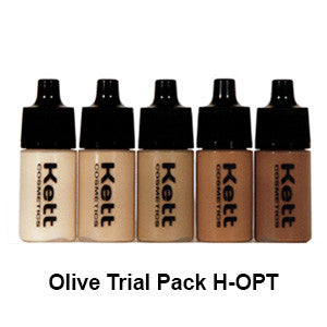 Kett Hydro Foundation Trial Pack (5 count of 7ml bottles) - Olive Trial Pack H-OPT | Camera Ready Cosmetics - 2