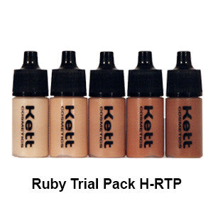 Kett Hydro Foundation Trial Pack (5 count of 7ml bottles) - Ruby Trial Pack H-RTP | Camera Ready Cosmetics - 3