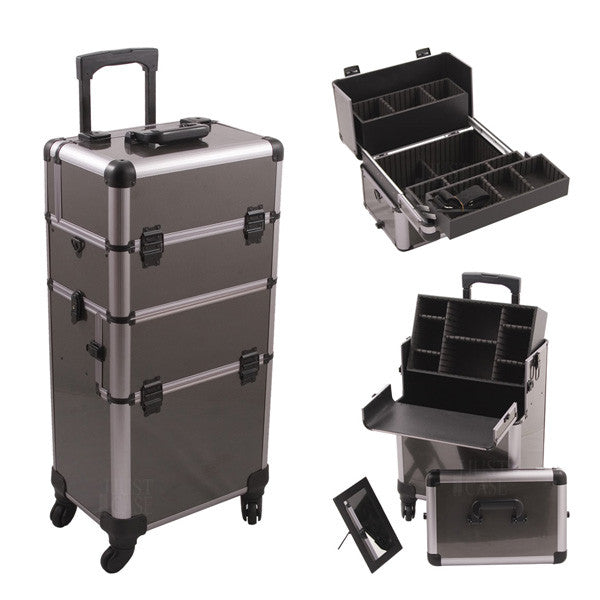 JUST CASE - HIKER PRO 4-WHEEL MAKEUP CASE HK6501 (USA ONLY) - Gun Metal - HK6501ASBY (Limited Availability) | Camera Ready Cosmetics - 3