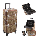 JUST CASE - HIKER PRO 4-WHEEL MAKEUP CASE HK6501 (USA ONLY) - Leopard - HK6501LPBR | Camera Ready Cosmetics - 4