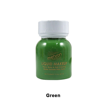 Mehron Liquid Makeup for Face, Body and Hair - 1oz w/ Brush / Green | Camera Ready Cosmetics - 17