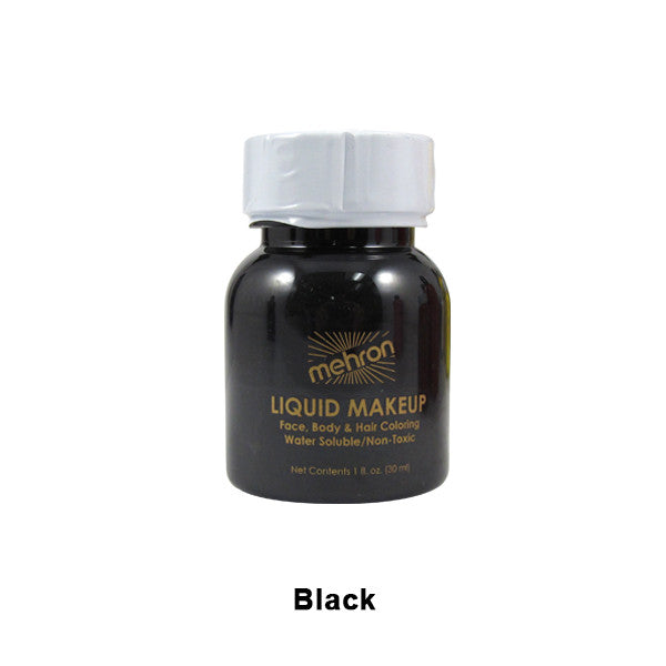Mehron Liquid Makeup for Face, Body and Hair - 1oz w/ Brush / Black | Camera Ready Cosmetics - 2
