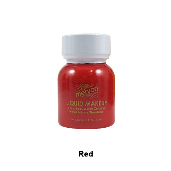 Mehron Liquid Makeup for Face, Body and Hair - 1oz w/ Brush / Red | Camera Ready Cosmetics - 29