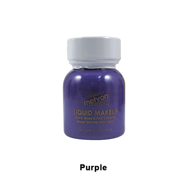 alt Mehron Liquid Makeup for Face Body and Hair 1oz w/ Brush / Purple