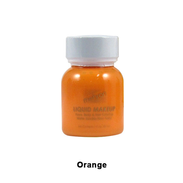 Mehron Liquid Makeup for Face, Body and Hair - 1oz w/ Brush / Orange | Camera Ready Cosmetics - 23