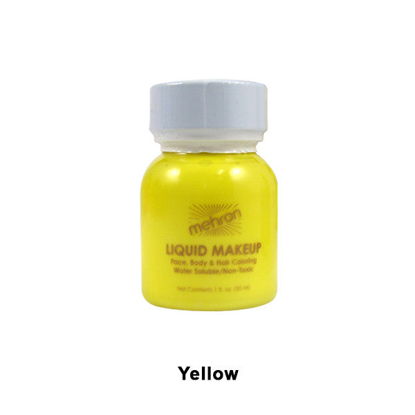 Mehron Liquid Makeup for Face, Body and Hair - 1oz w/ Brush / Yellow | Camera Ready Cosmetics - 35