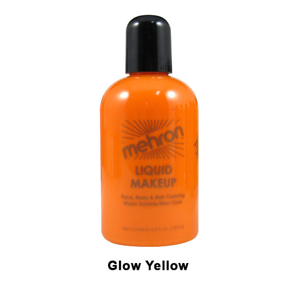Mehron Liquid Makeup for Face, Body and Hair - 4.5oz / Glow Yellow | Camera Ready Cosmetics - 14