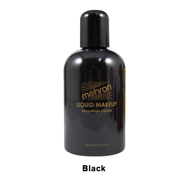 Mehron Liquid Makeup for Face, Body and Hair - 4.5oz / Black | Camera Ready Cosmetics - 4