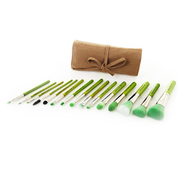 Bdellium Tools Green Bambu Series Complete 15pc. Brush Set -  | Camera Ready Cosmetics