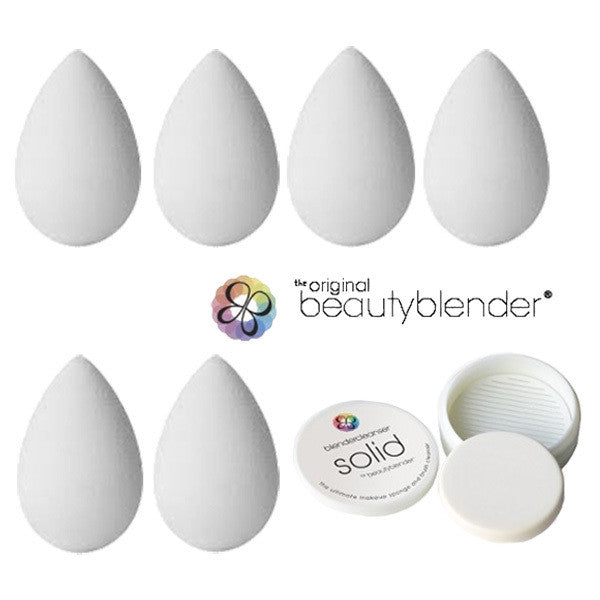 beautyblender® pure WHITE Pack (6 Blenders + 1 Solid Cleanser) -  | Camera Ready Cosmetics