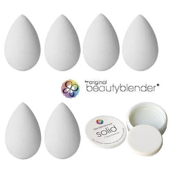 alt Beautyblender®Pure WHITE Pack (6 Blenders + 1 Solid Cleanser)