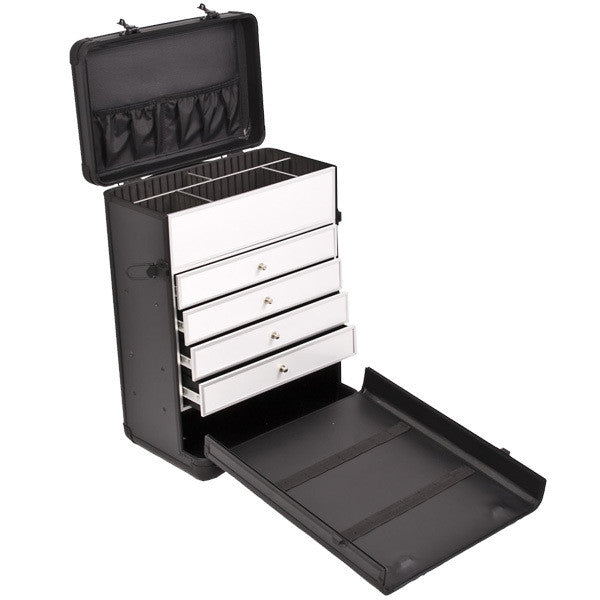 Just Case - Black Dot Rolling Case with Drawer C6000 (USA Only) -  | Camera Ready Cosmetics - 3