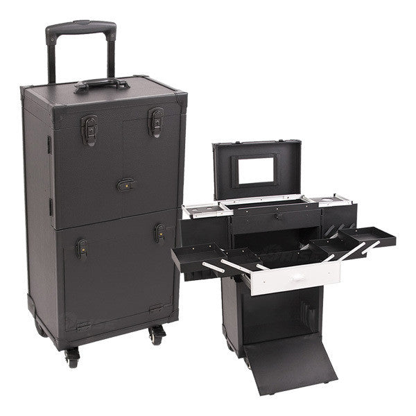 Just Case - Black Leather 4-Wheel Case C6021PVAB (USA Only) -  | Camera Ready Cosmetics - 1