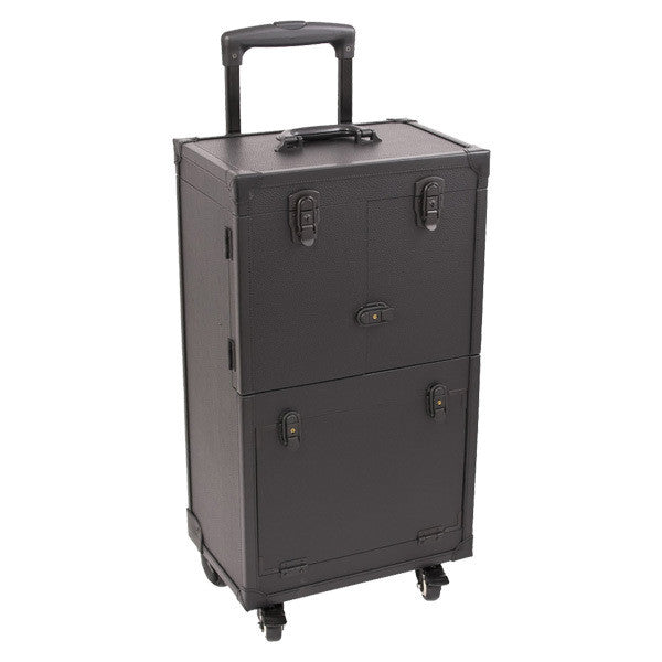 Just Case - Black Leather 4-Wheel Case C6021PVAB (USA Only) -  | Camera Ready Cosmetics - 3