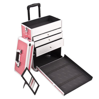 JUST CASE SUNRISE PINK CROCODILE PATTERN DRAWER CASE E6303CRHP (USA ONLY) -  | Camera Ready Cosmetics - 3