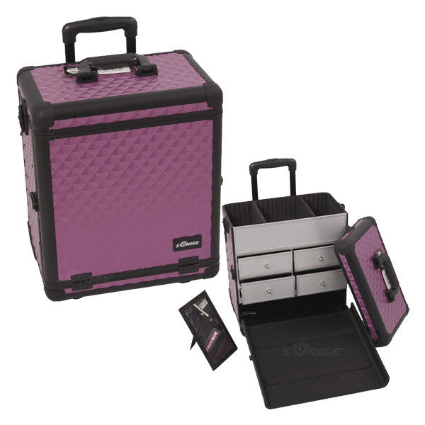JUST CASE - SUNRISE PURPLE DIAMOND PATTERN DRAWER CASE E6302DMPLB (USA ONLY) -  | Camera Ready Cosmetics - 1