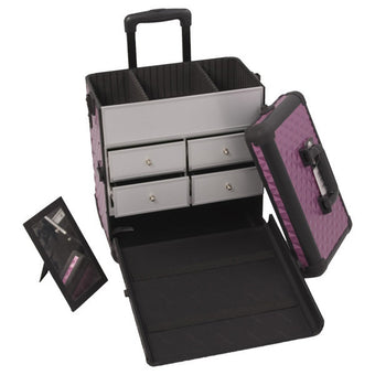 JUST CASE - SUNRISE PURPLE DIAMOND PATTERN DRAWER CASE E6302DMPLB (USA ONLY) -  | Camera Ready Cosmetics - 3