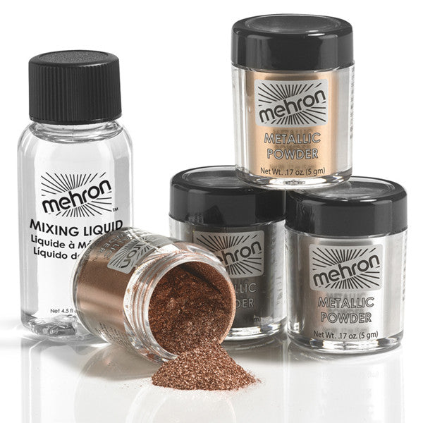 Mehron Metallic Powder With Mixing Liquid Camera Ready