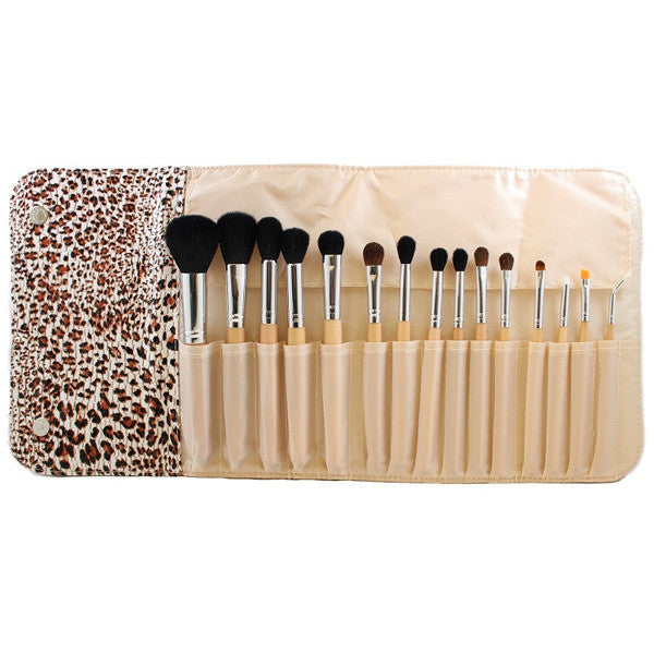 Morphe- SET 694 - 15 PIECE WOODEN HANDLE SET W/ CHEETAH SNAP CASE -  | Camera Ready Cosmetics