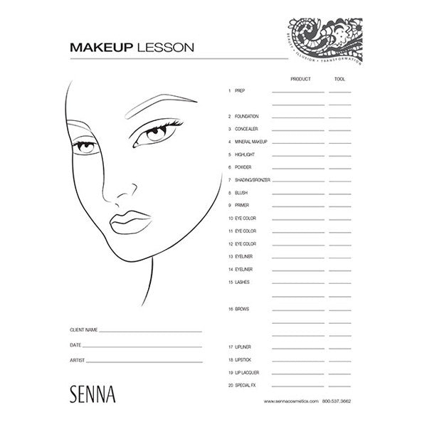 Senna Makeup Artist Face Charts  Camera Ready Cosmetics
