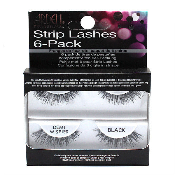 Ardell Professional Strip Lashes 6 Pack Demi Wispies - Black (60066) -  | Camera Ready Cosmetics