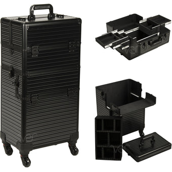alt Just Case Hair Stylist Organizer Makeup Case on Wheels Black Stripe 4-Wheels Case (VR6504STAB)