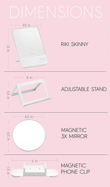 Glamcor Riki Skinny Led Vanity Mirror Camera Ready Cosmetics