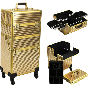 alt Just Case Hair Stylist Organizer Makeup Case on Wheels Gold Stripe 4-Wheels Case (VR6504STGL)