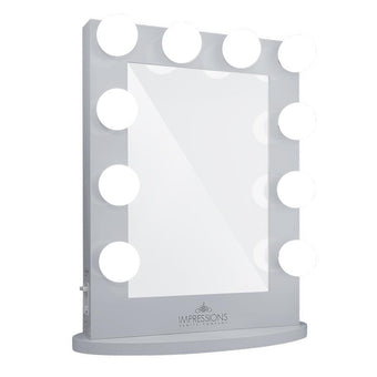alt Impressions Vanity Co Hollywood Iconic Vanity Mirror Silver / Premium Frosted LED Globe Bulbs