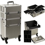 alt Just Case Hair Stylist Organizer Makeup Case on Wheels Champagne Stripe 4-Wheels Case (VR6504STCH)