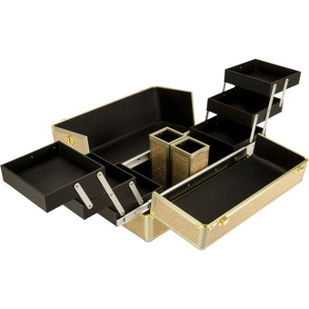 alt Just Case Gold 6-Tiers Easy Slide Accordion Professional Cosmetic Makeup - VK3201KLGL