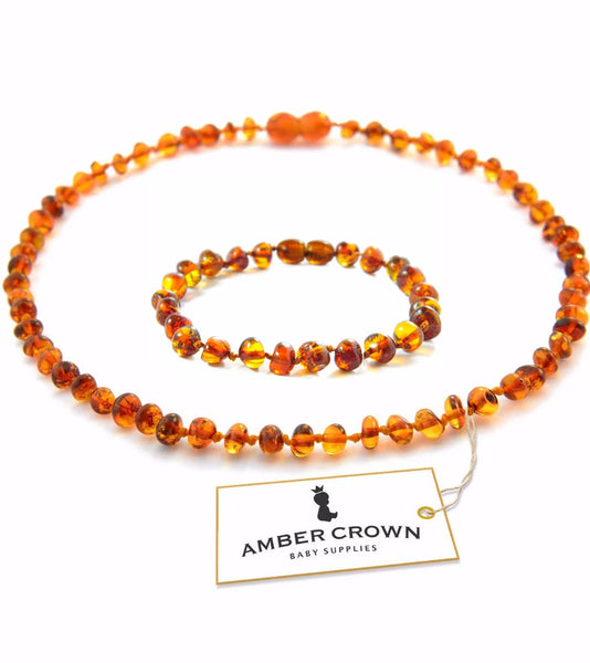 Amber Teething Necklace + Bracelet (Honey)