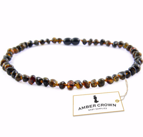 Amber Teething Necklace (Dark Green)