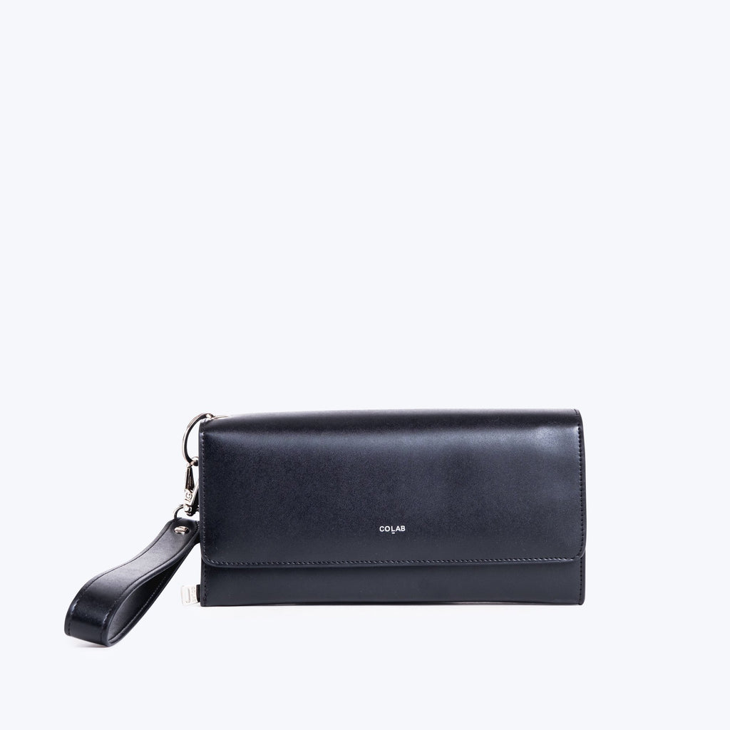 Colab Flap Over Wristlet Black