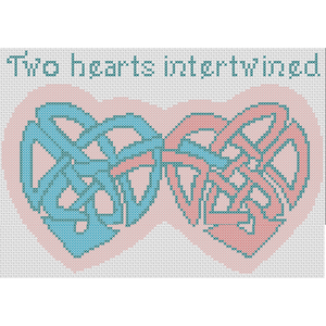 Cross Stitch - Two Hearts Intertwined