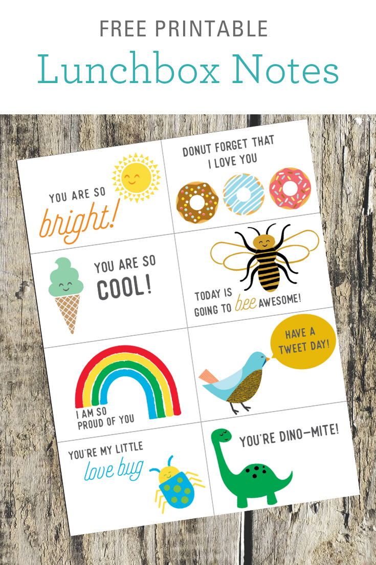 Free lunchbox printable notes for kids