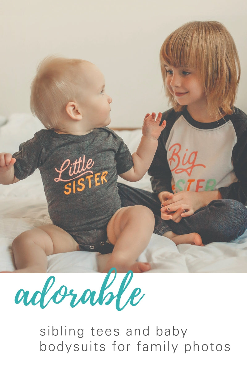 adorable sibling tees and baby bodysuits for family photos