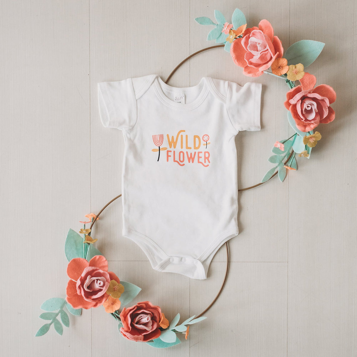 PRE-ORDER - Wild Flower baby bodysuit / onesie - Sweetpea and Co.