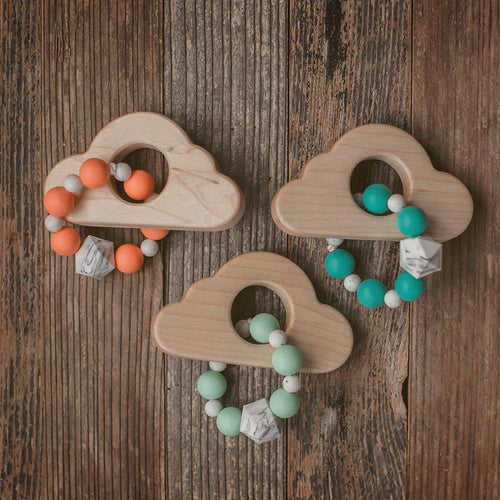 Cloud Wood and Bead Teether - Sweetpea and Co.